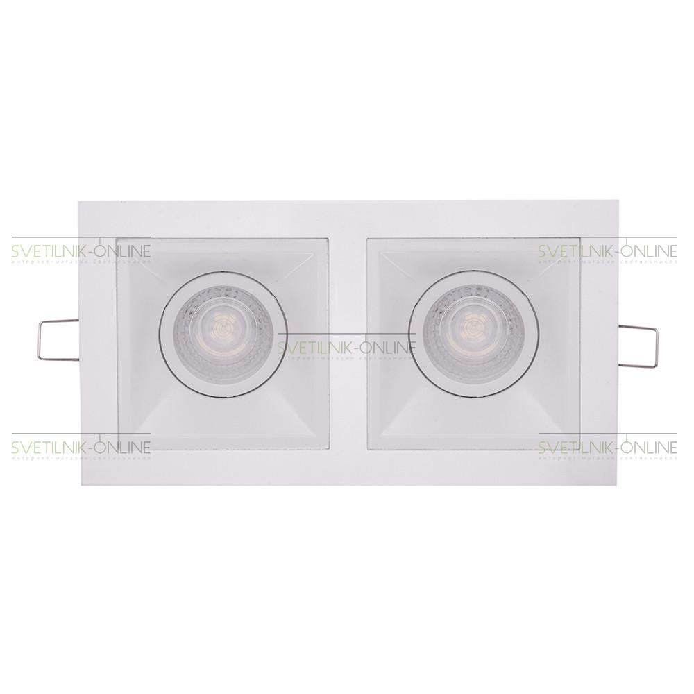 Точечный светильник Lightstar Lightstar Domino Quadro MR16 Белый две лампы от svetilnik-online