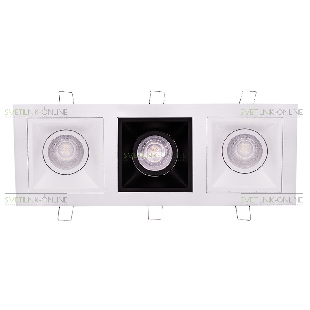 Точечный светильник Lightstar Lightstar Domino Quadro MR16 Белый с черным три лампы от svetilnik-online