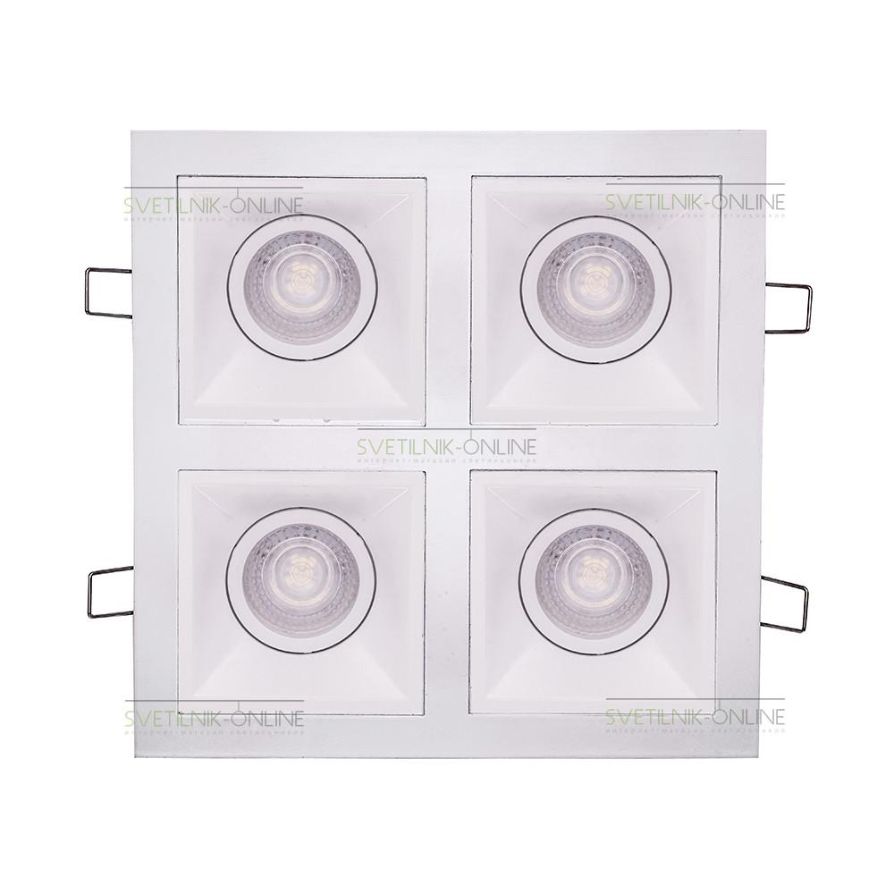 Точечный светильник Lightstar Lightstar Domino Quadro MR16 Белый четыре лампы от svetilnik-online