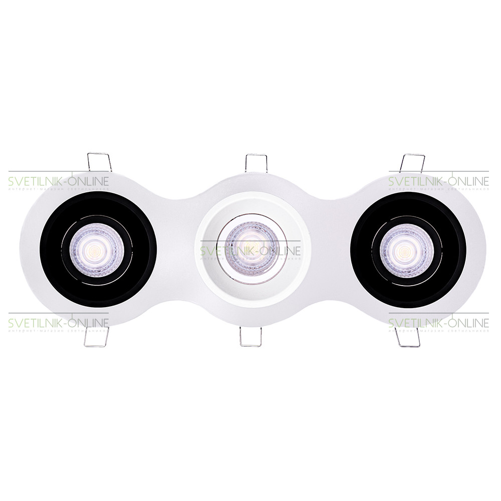 Точечный светильник Lightstar Lightstar Domino Round MR16 Белый с черным три лампы от svetilnik-online