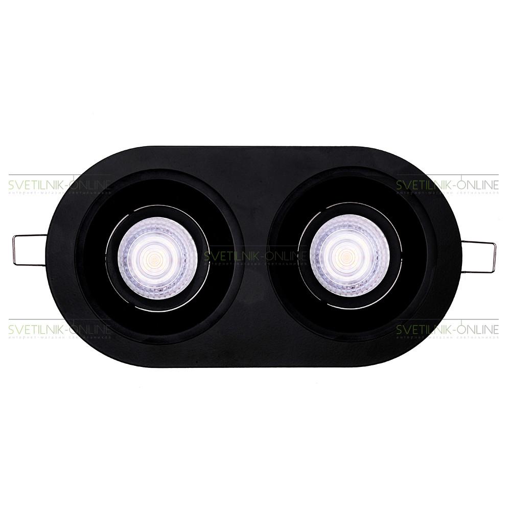 Точечный светильник Lightstar Lightstar Domino Round MR16 Черный две лампы от svetilnik-online