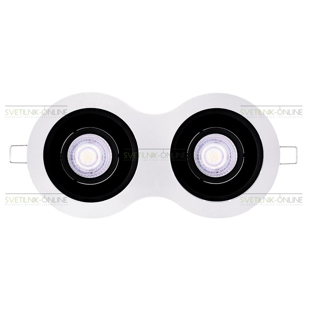 Точечный светильник Lightstar Lightstar Intero 16 Round Черный с белым две лампы от svetilnik-online