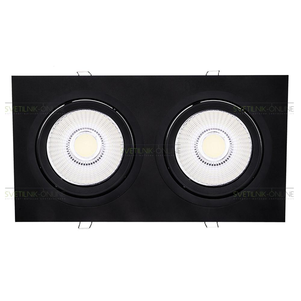 Точечный светильник Lightstar Lightstar Intero 111 Quadro Черный две лампы от svetilnik-online