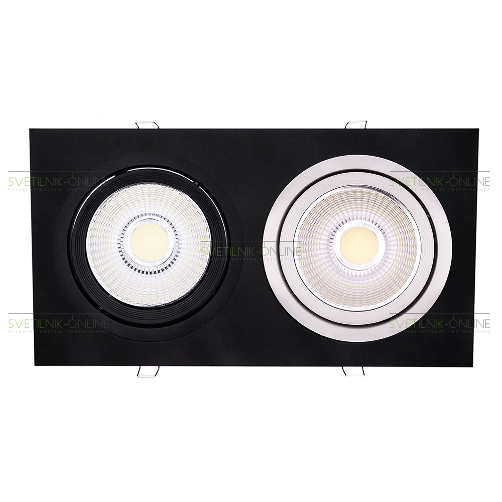 Точечный светильник Lightstar Lightstar Intero 111 Quadro Черный с белым две лампы от svetilnik-online