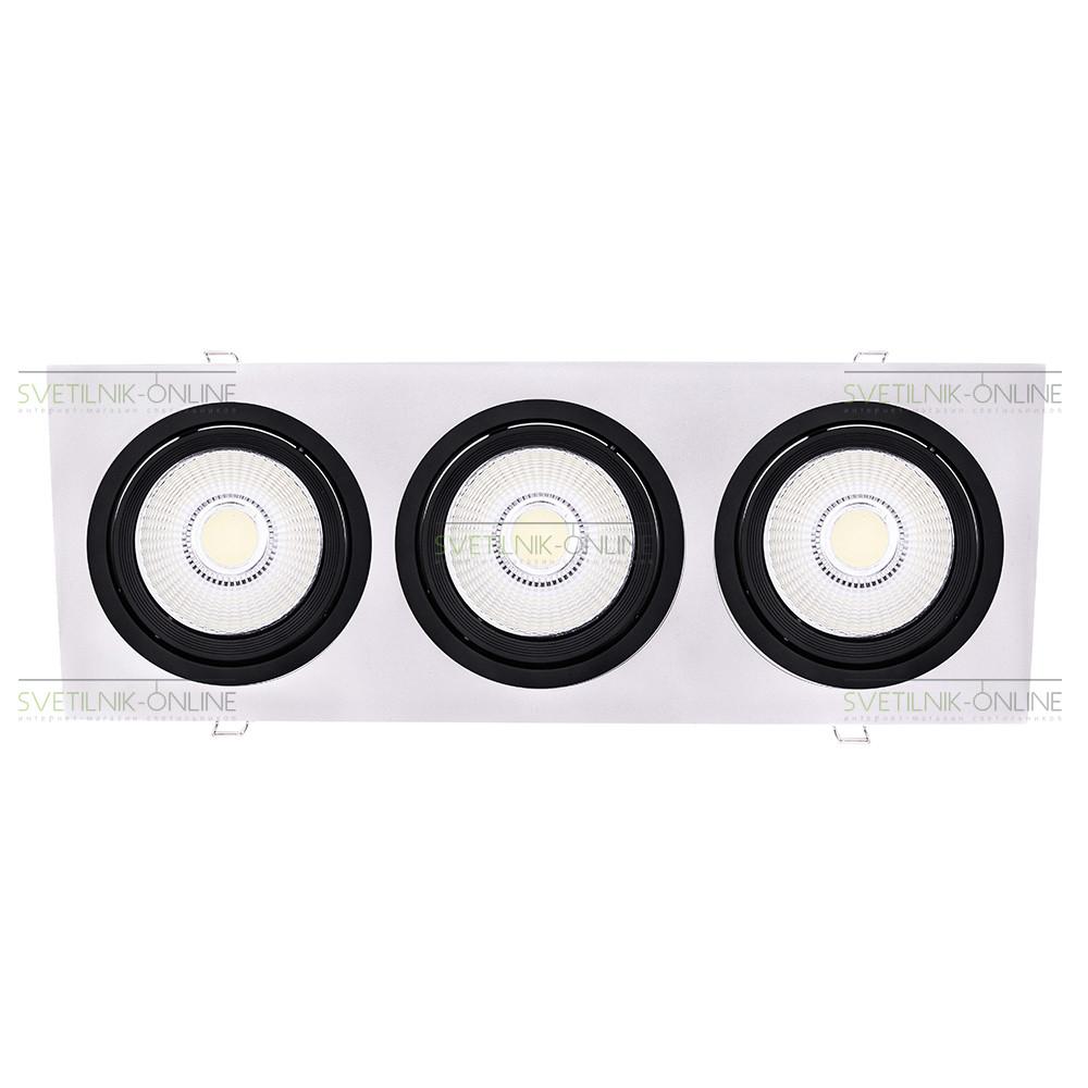 Точечный светильник Lightstar Lightstar Intero 111 Quadro Черный с белым три лампы от svetilnik-online