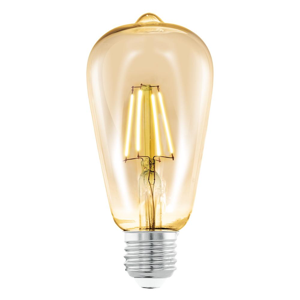 Купить Светодиодная лампа филаментная Eglo 220V ST64 E27 4W (соответствует 40 Вт) 220Lm 2200K (желтый) 11521