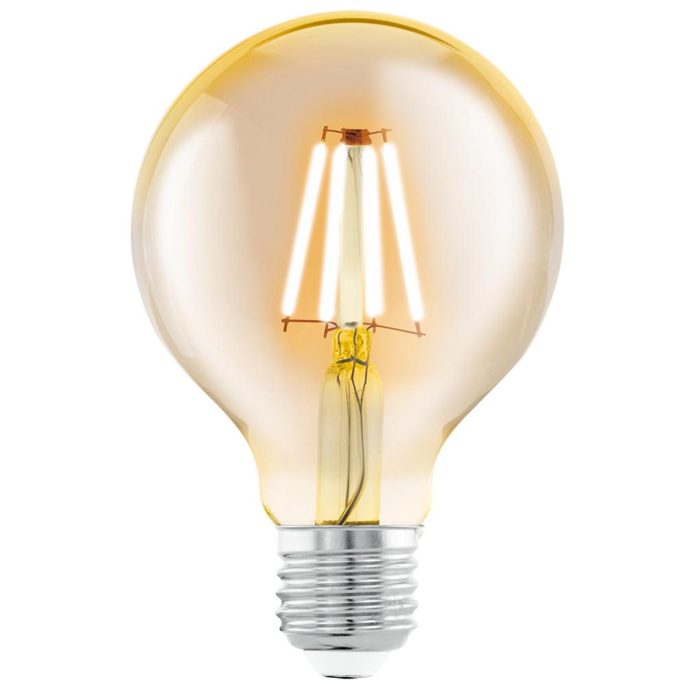 Купить Светодиодная лампа филаментная Eglo G80 (янтарь) E27 4W (соответствует 40 Вт) 330Lm 2200K (желтый) 11556