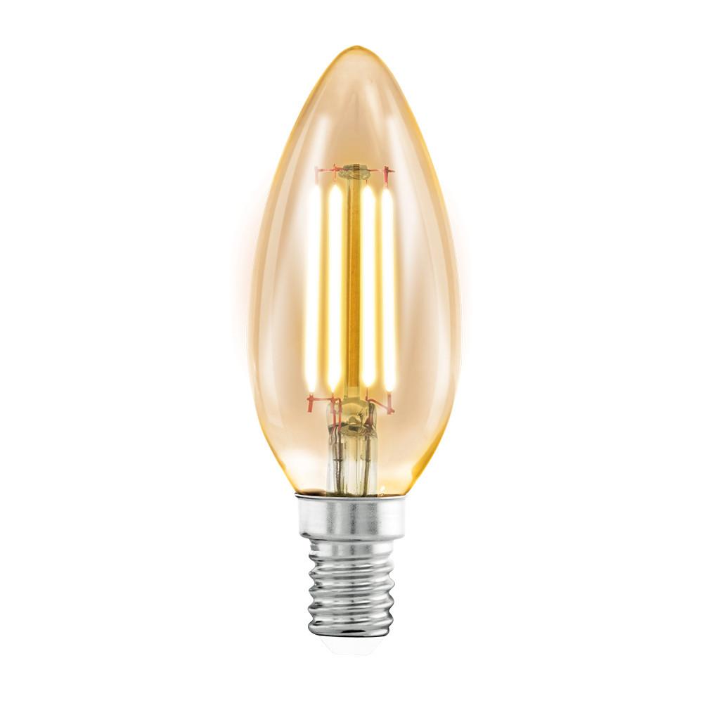 Лампочка Eglo Светодиодная лампа филаментная Eglo 220V C37 (янтарь) E14 4W (соответствует 40 Вт) 220Lm 2200K (желтый) 11557 от svetilnik-online