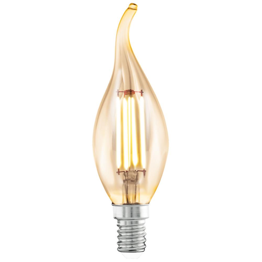 Лампочка Eglo Светодиодная лампа филаментная Eglo 220V CF37 (янтарь) E14 4W (соответствует 40 Вт) 220Lm 2200K (желтый) 11559 от svetilnik-online