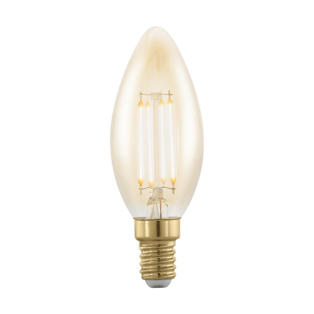 Лампочка Eglo Диммируемая светодиодная лампа филаментная золотая Eglo E14 4W (соответствует 40W) 320Lm 1700K (желтый) 11698 от svetilnik-online