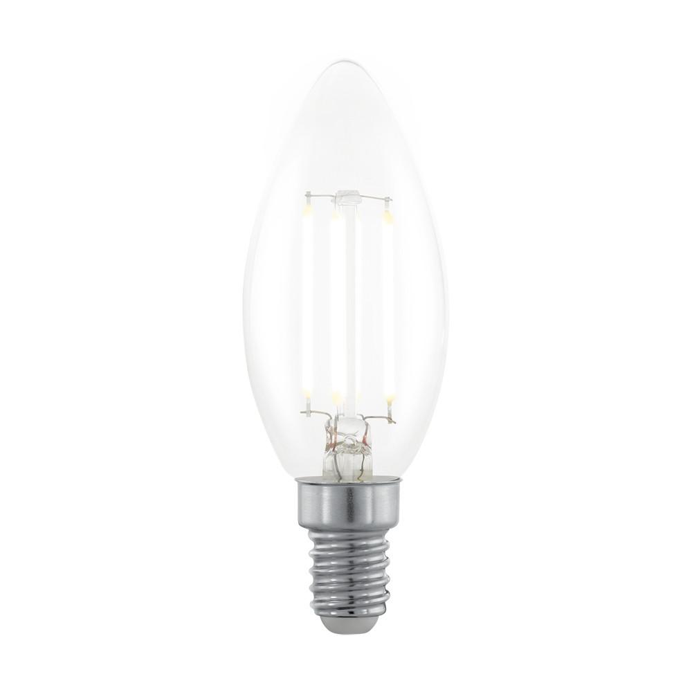 Лампочка Eglo Диммируемая светодиодная лампа филаментная свеча Eglo E14 3.5W (соответствует 35W) 350Lm 2700К (теплый белый) 11704 от svetilnik-online
