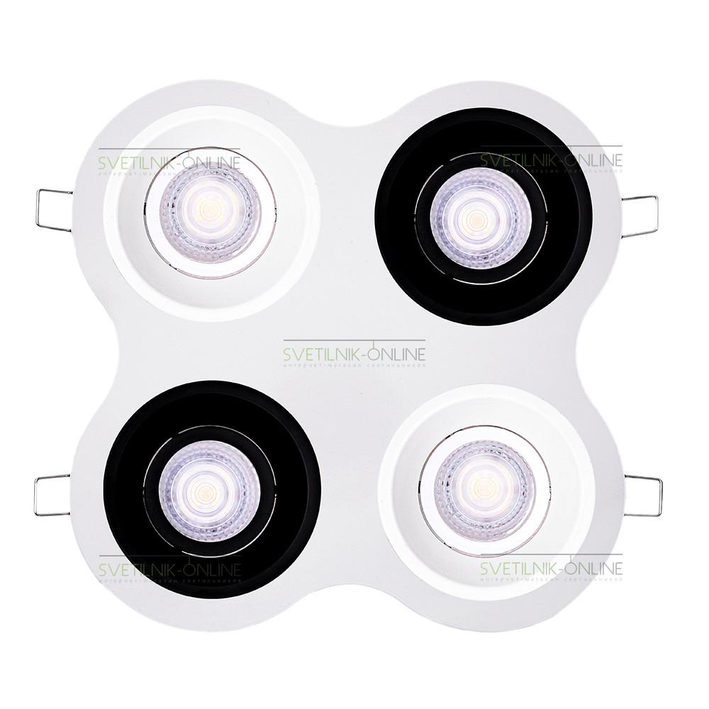 Точечный светильник Lightstar Lightstar Domino Round MR16 Белый с черным четыре лампы от svetilnik-online