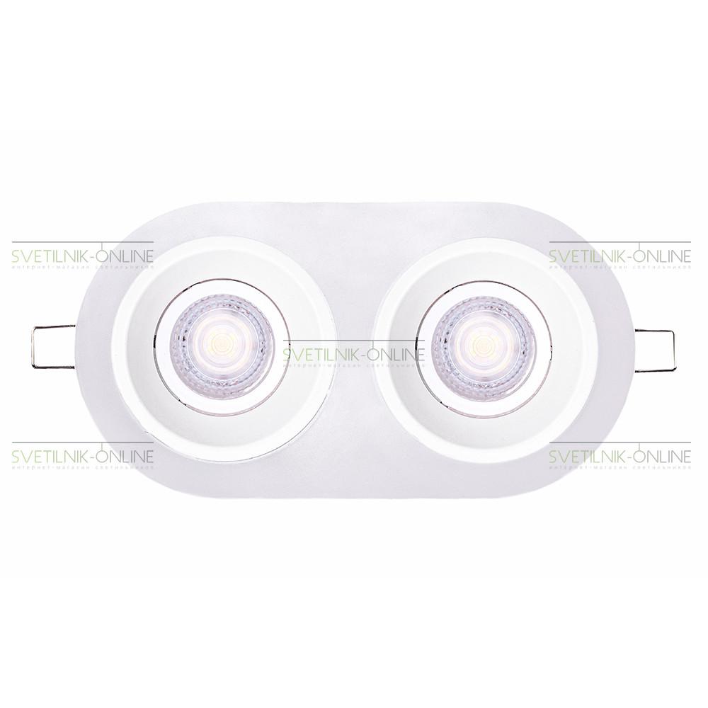 Точечный светильник Lightstar Lightstar Domino Round MR16 Белый две лампы от svetilnik-online