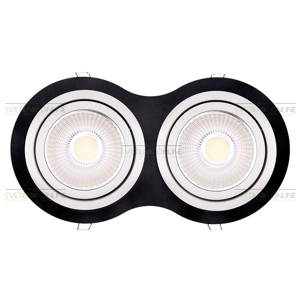 Точечный светильник Lightstar Lightstar Intero 111 Round Белый с черным две лампы от svetilnik-online