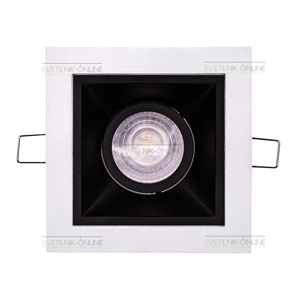 Точечный светильник Lightstar Lightstar Domino Quadro MR16 Черный с белым одна лампа от svetilnik-online