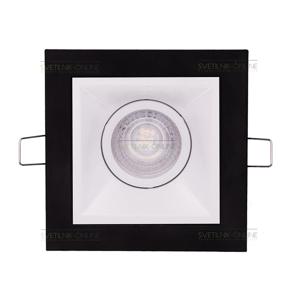 Точечный светильник Lightstar Lightstar Domino Quadro MR16 Белый с черным одна лампа от svetilnik-online