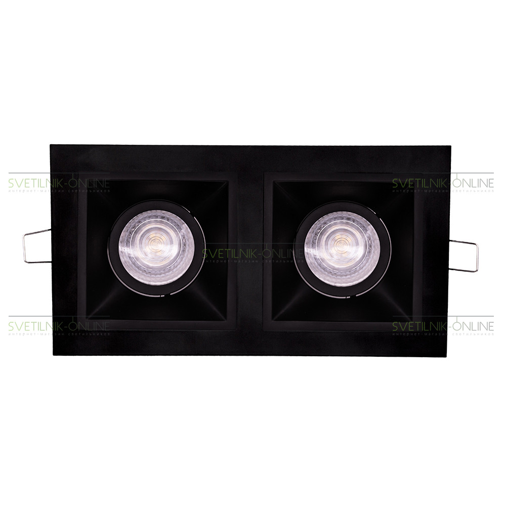 Точечный светильник Lightstar Lightstar Domino Quadro MR16 Черный две лампы от svetilnik-online