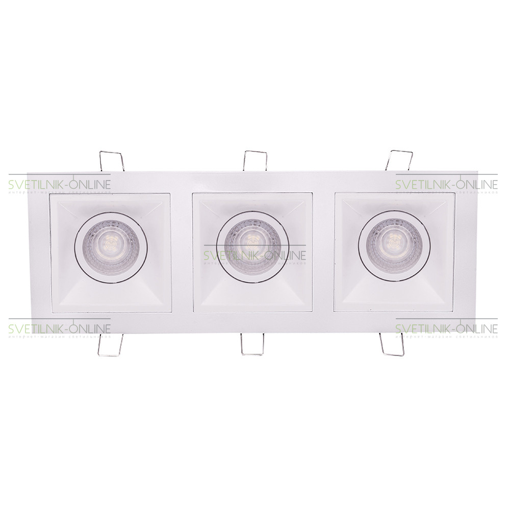 Точечный светильник Lightstar Lightstar Domino Quadro MR16 Белый три лампы от svetilnik-online
