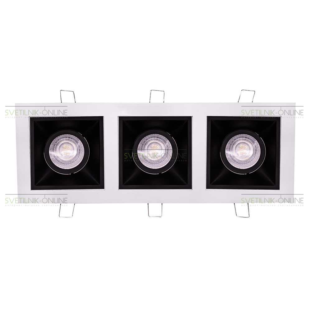 Точечный светильник Lightstar Lightstar Domino Quadro MR16 Черный с белым три лампы от svetilnik-online