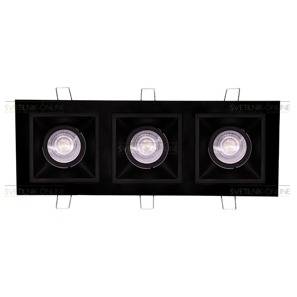 Точечный светильник Lightstar Lightstar Domino Quadro MR16 Черный три лампы от svetilnik-online