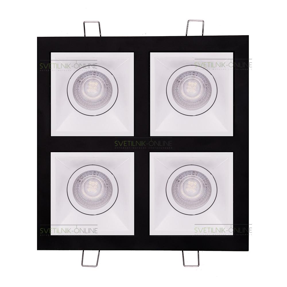 Точечный светильник Lightstar Lightstar Domino Quadro MR16 Белый с черным четыре лампы от svetilnik-online