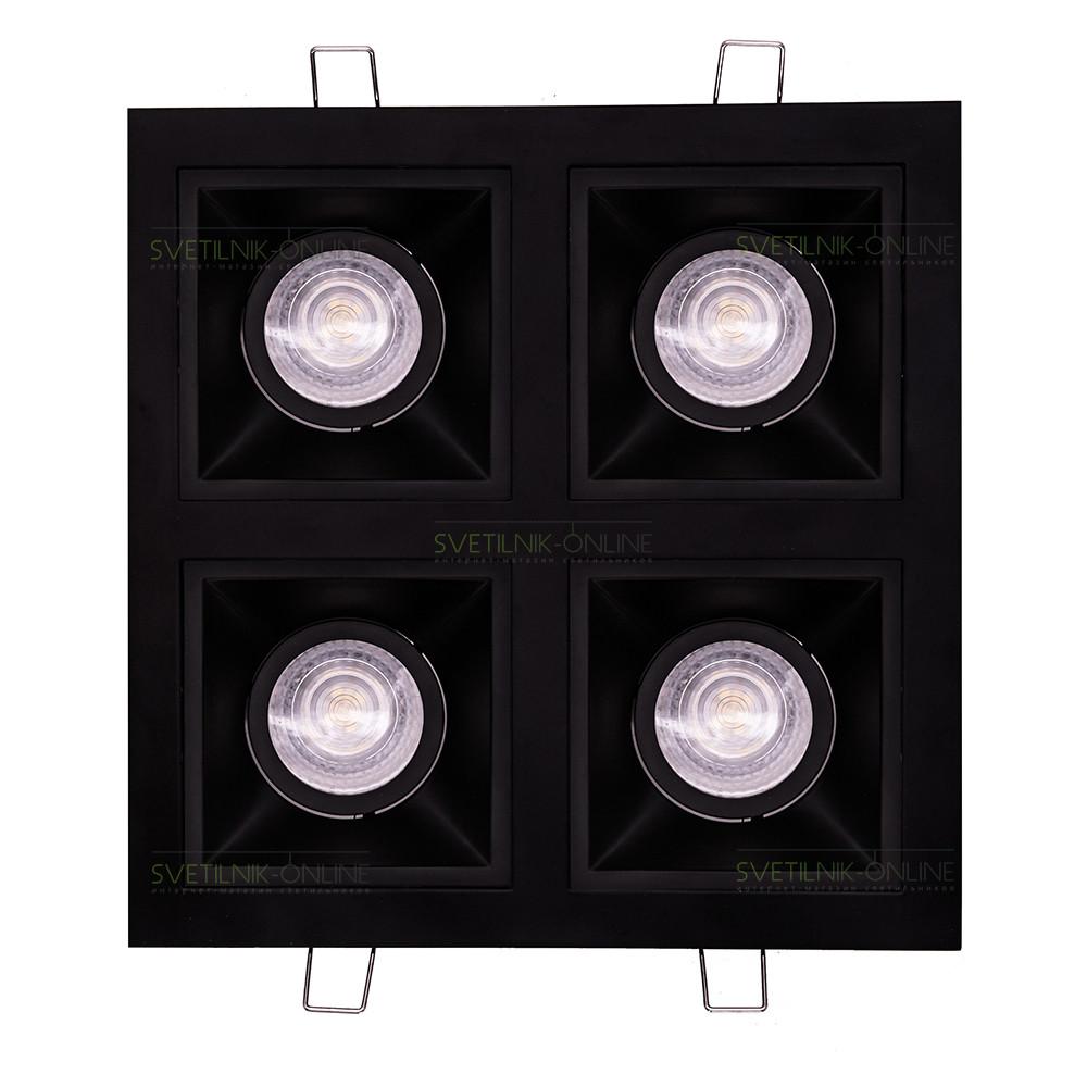 Точечный светильник Lightstar Lightstar Domino Quadro MR16 Черный четыре лампы от svetilnik-online