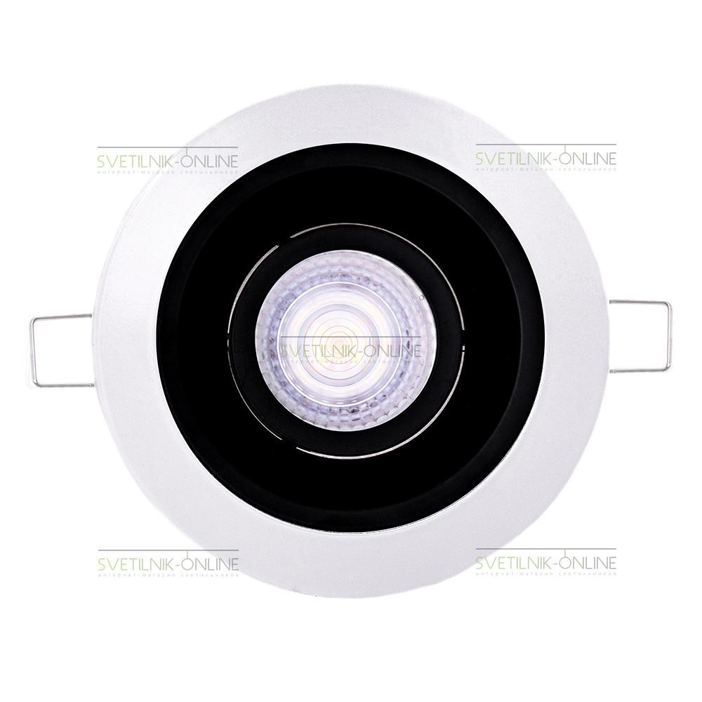 Точечный светильник Lightstar Lightstar Domino Round MR16 Черный с белым одна лампа от svetilnik-online
