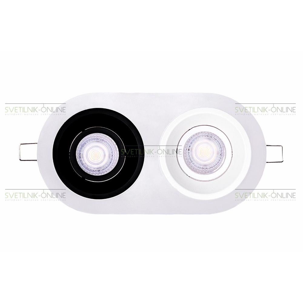 Точечный светильник Lightstar Lightstar Domino Round MR16 Белый с черным две лампы от svetilnik-online