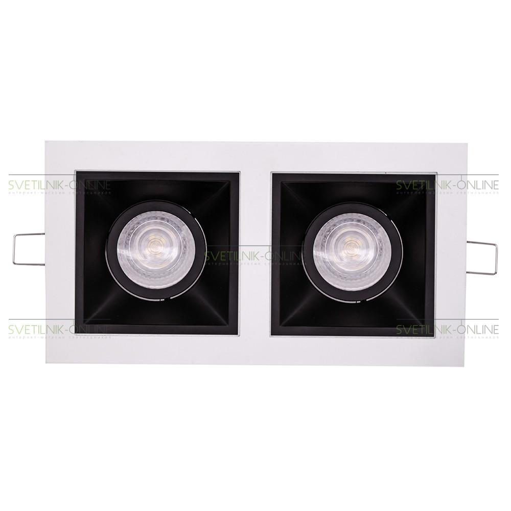 Точечный светильник Lightstar Lightstar Domino Quadro MR16 Черный с белым две лампы от svetilnik-online