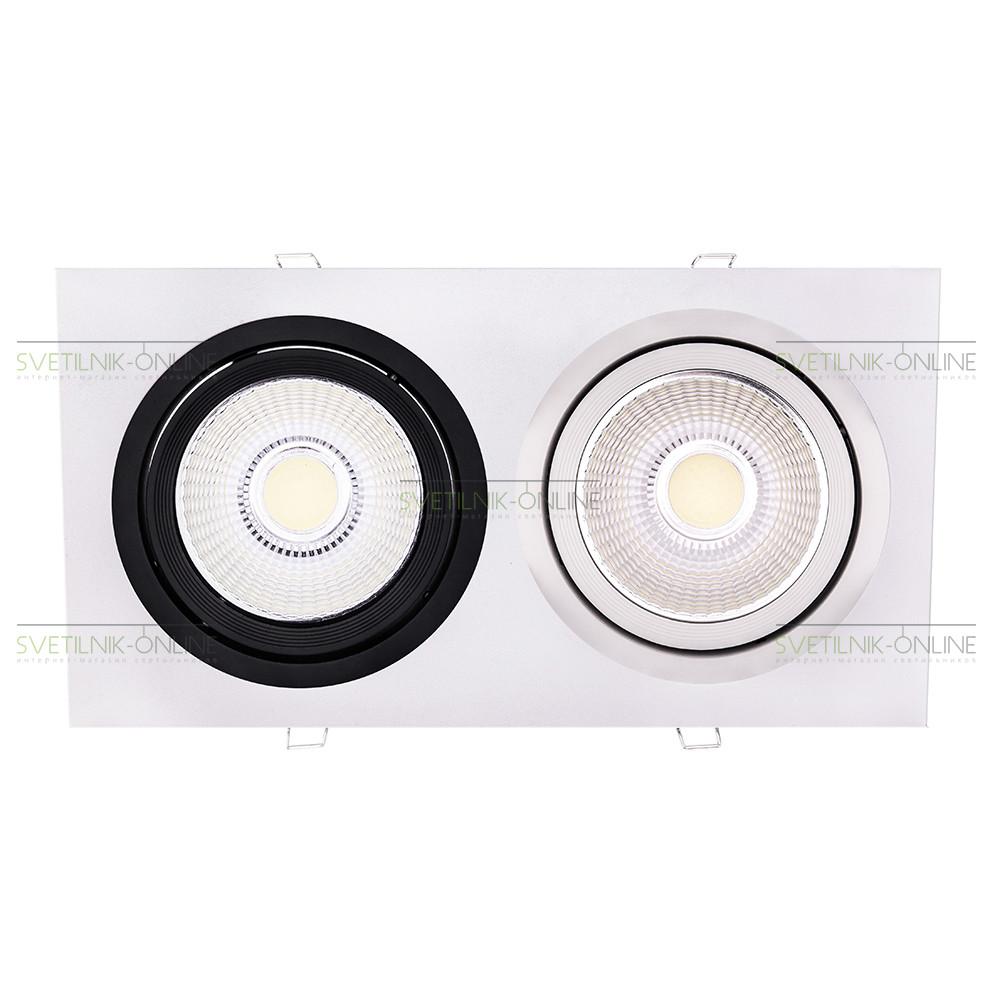 Точечный светильник Lightstar Lightstar Intero 111 Quadro Белый с черным две лампы от svetilnik-online