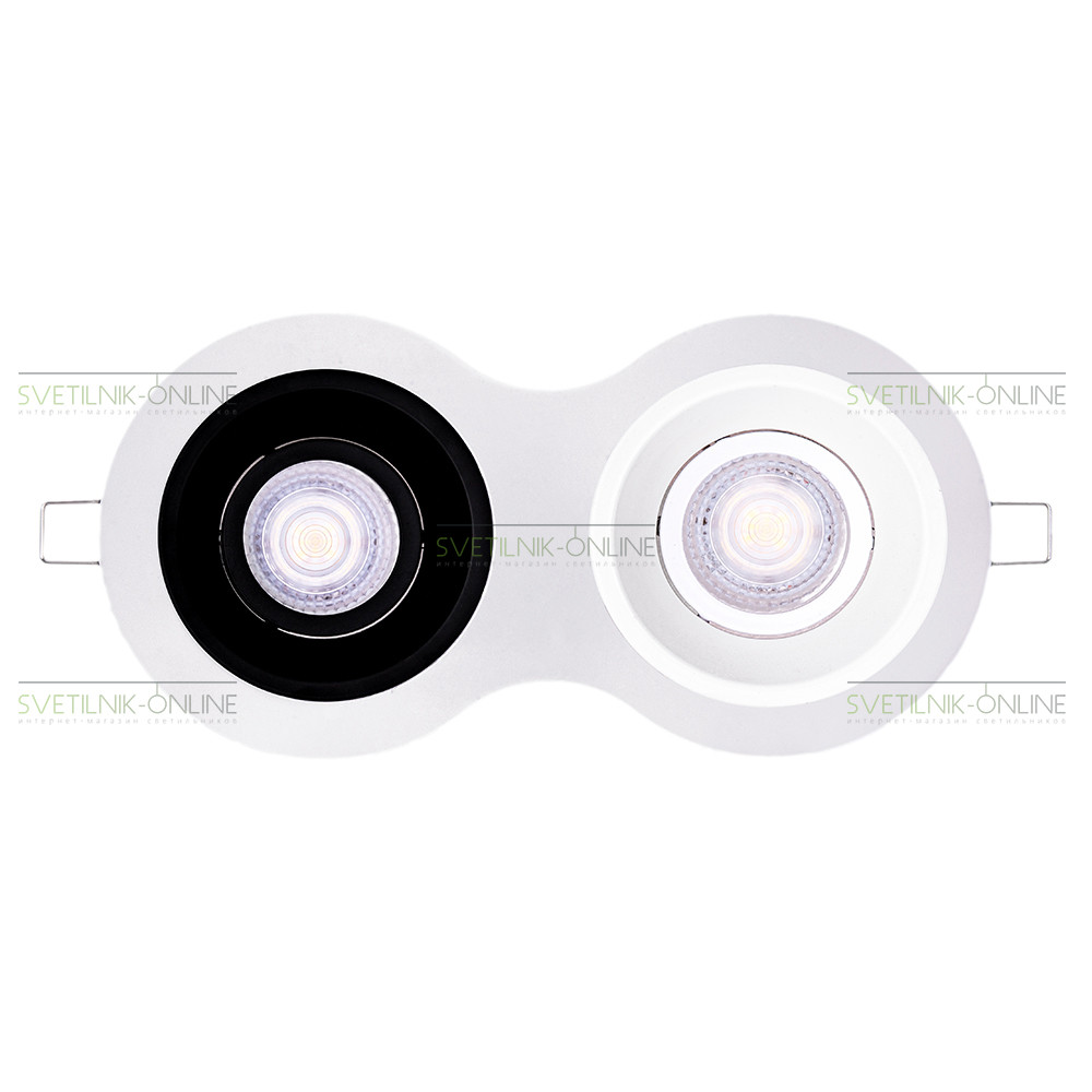 Точечный светильник Lightstar Lightstar Intero 16 Round Белый с черным две лампы от svetilnik-online