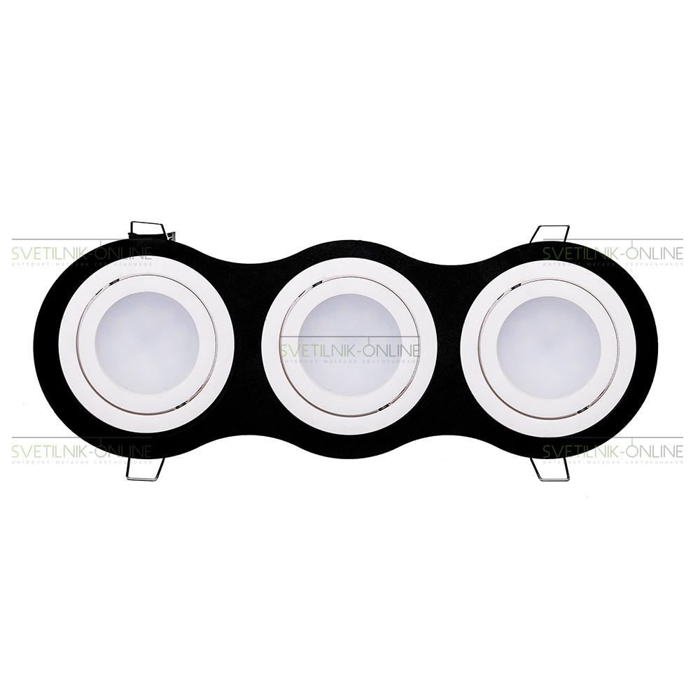 Точечный светильник Lightstar Lightstar Intero 16 Round Белый с черным три лампы от svetilnik-online