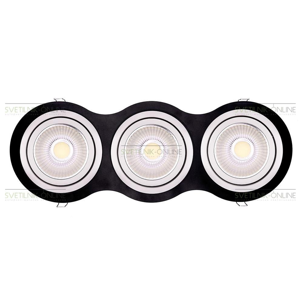 Точечный светильник Lightstar Lightstar Intero 111 Round Белый с черным три лампы от svetilnik-online