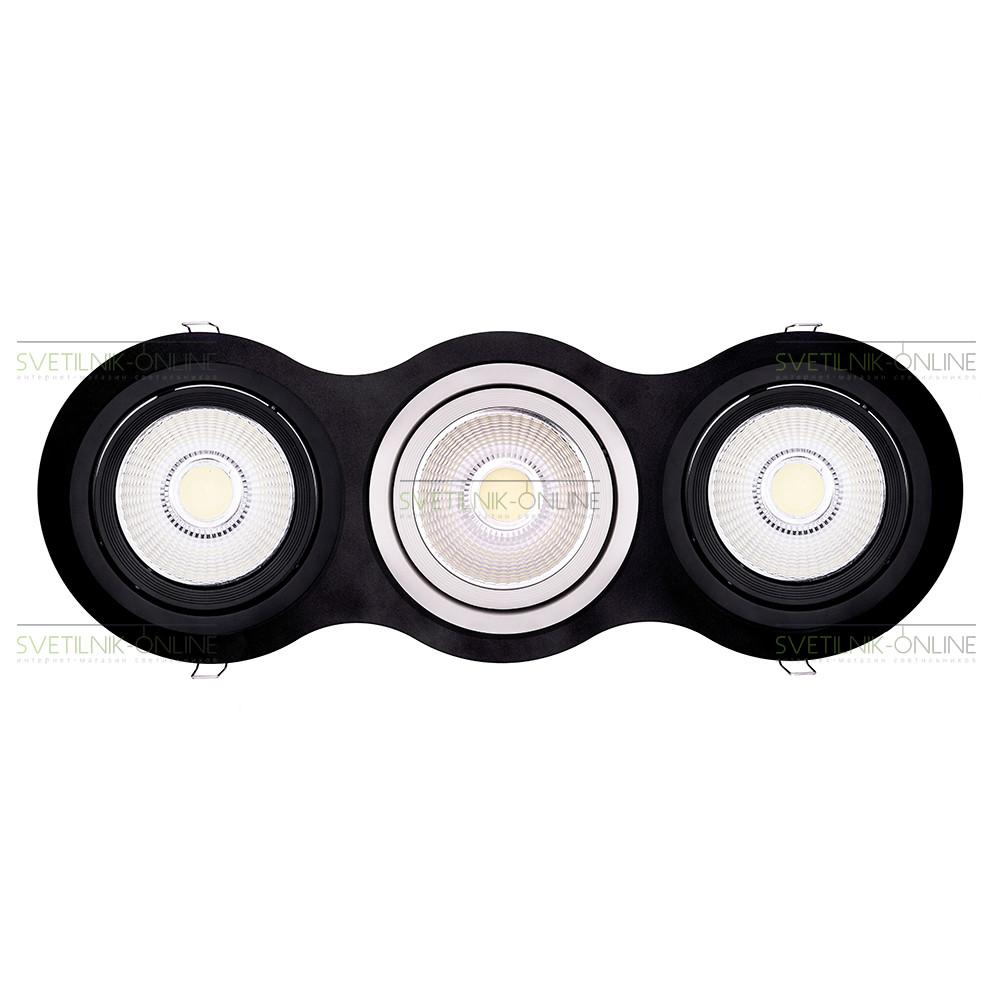 Точечный светильник Lightstar Lightstar Intero 111 Round Черный с белым три лампы от svetilnik-online