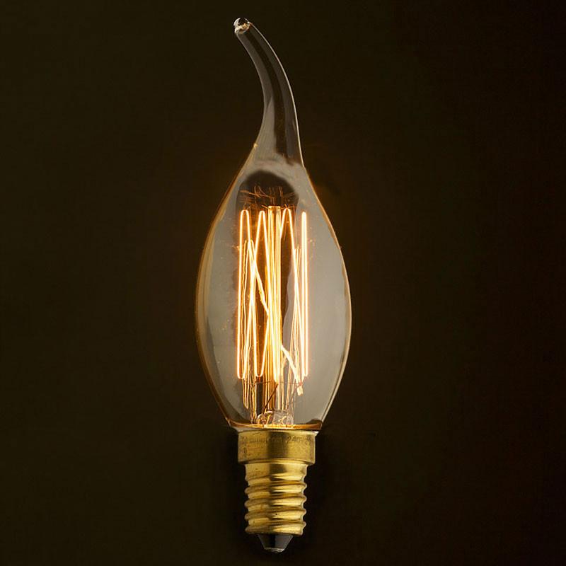 Лампочка Loft It Ретро лампа накаливания (свеча на ветру) Loft It E14 40W 220V 3540-GL от svetilnik-online