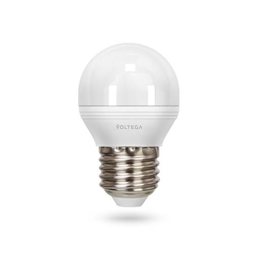 Купить Диммируемая светодиодная лампа шар диммируемая Voltega 220V E27 6W (соответствует 60 Вт) 470Lm 2800K (теплый белый) 5495