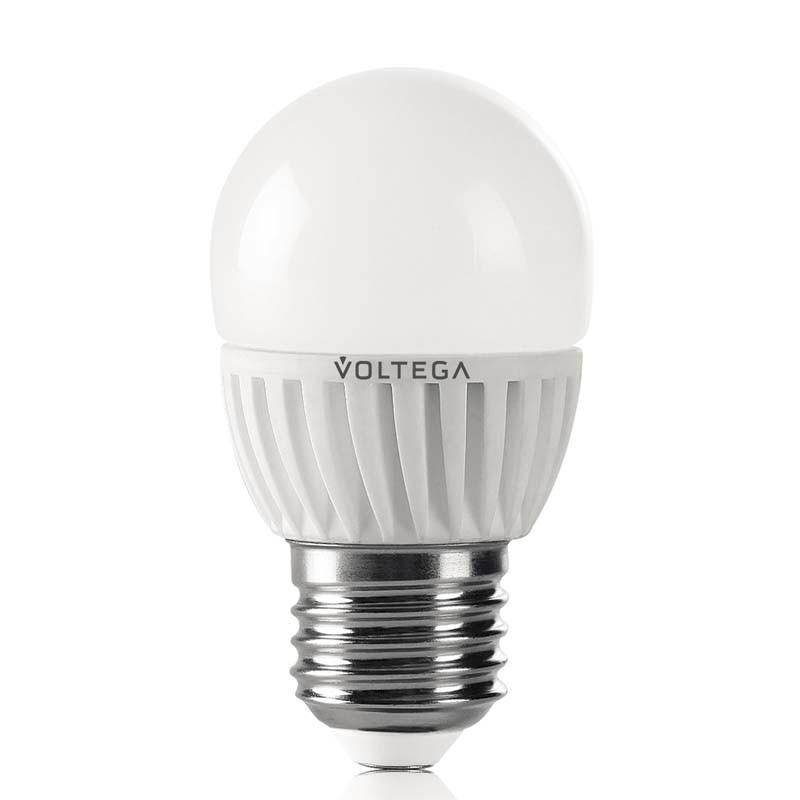 Купить Светодиодная лампа шар Voltega 220V E27 6.5W (соответствует 60 Вт) 620Lm 4000K (белый) 4696