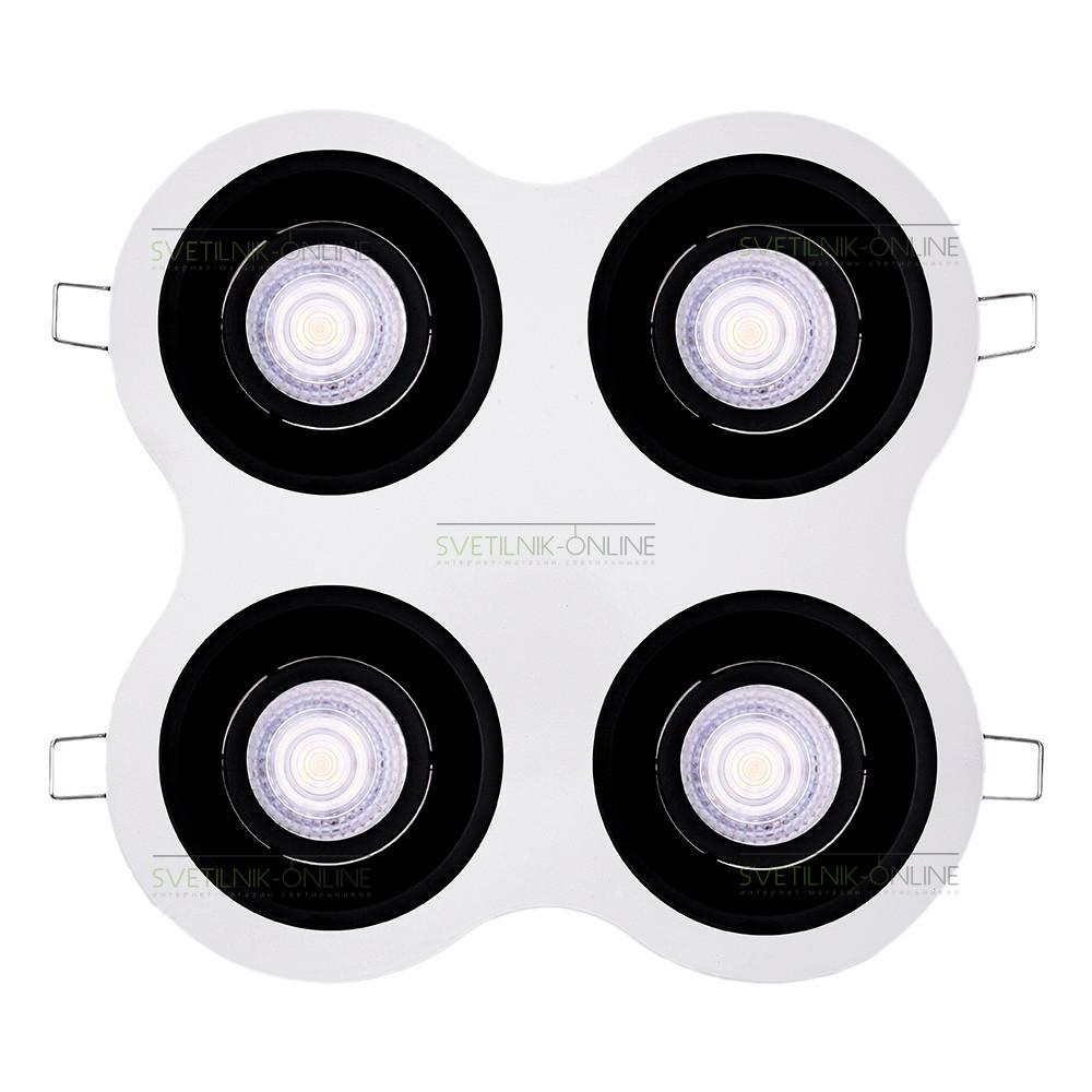 Точечный светильник Lightstar Lightstar Domino Round MR16 Черный с белым четыре лампы от svetilnik-online
