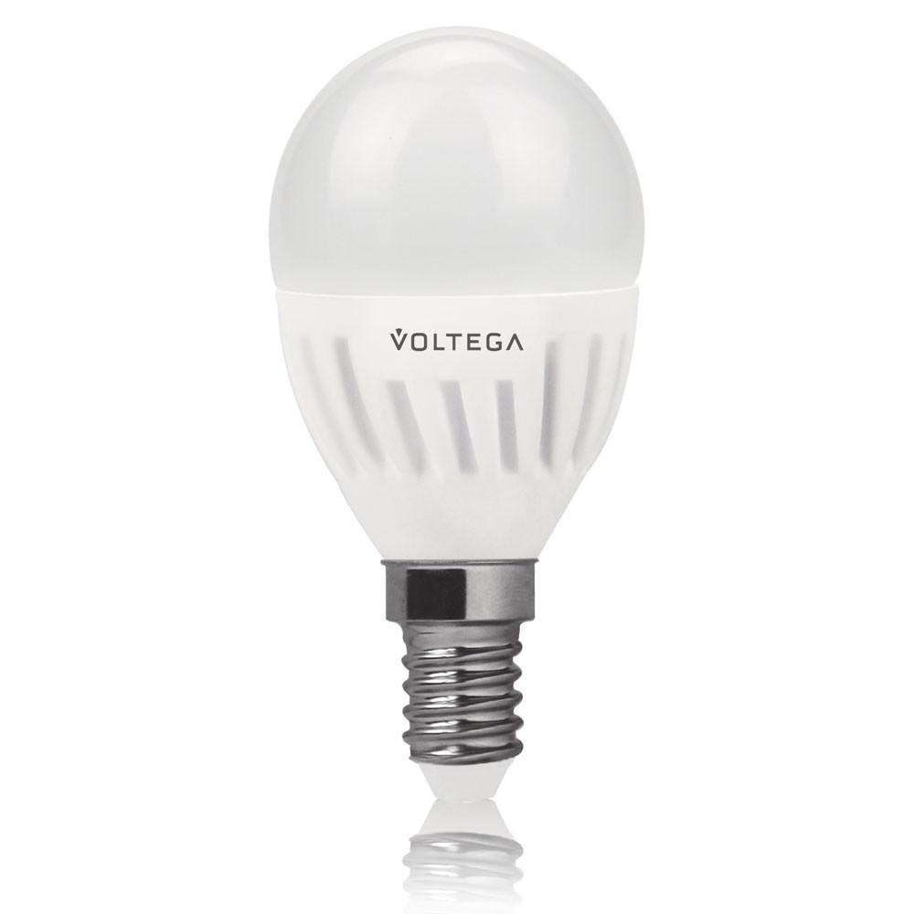 Купить Светодиодная лампа шар Voltega 220V E14 6.5W (соответствует 60 Вт) 620Lm 4000K (белый) 5722