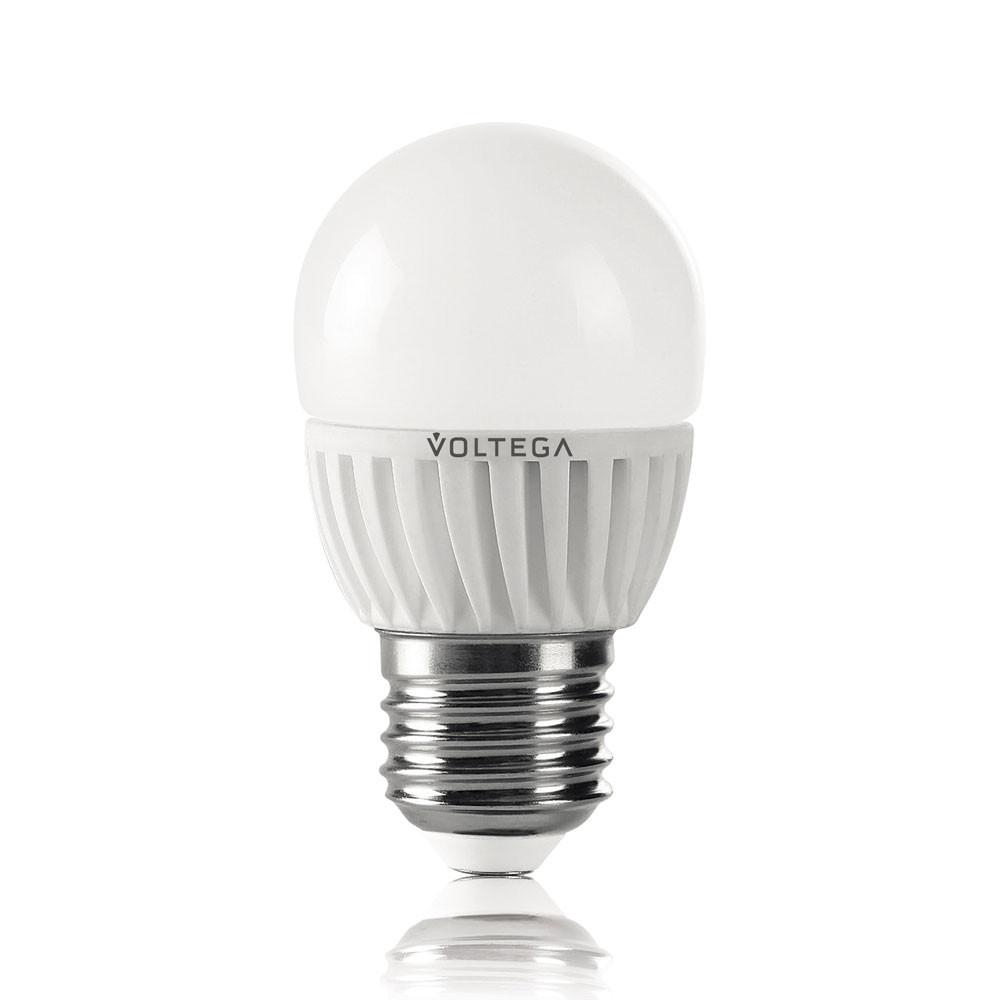 Купить Светодиодная лампа шар Voltega 220V E27 6.5W (соответствует 60 Вт) 620Lm 4000K (белый) 5724