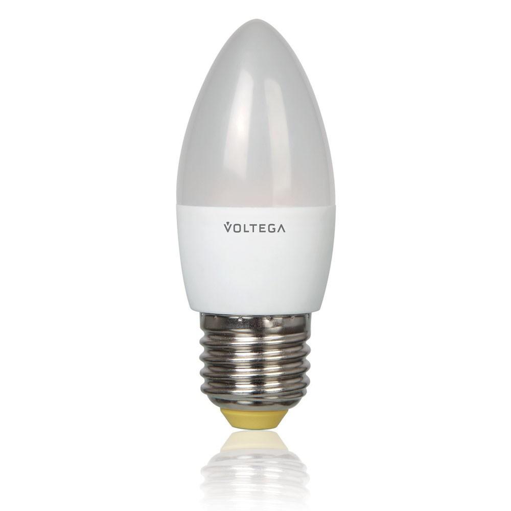 Лампочка Voltega Светодиодная лампа свеча Voltega 220V E27 5.4W (соответствует 60 Вт) 450Lm 2800K (теплый белый) 4716 от svetilnik-online