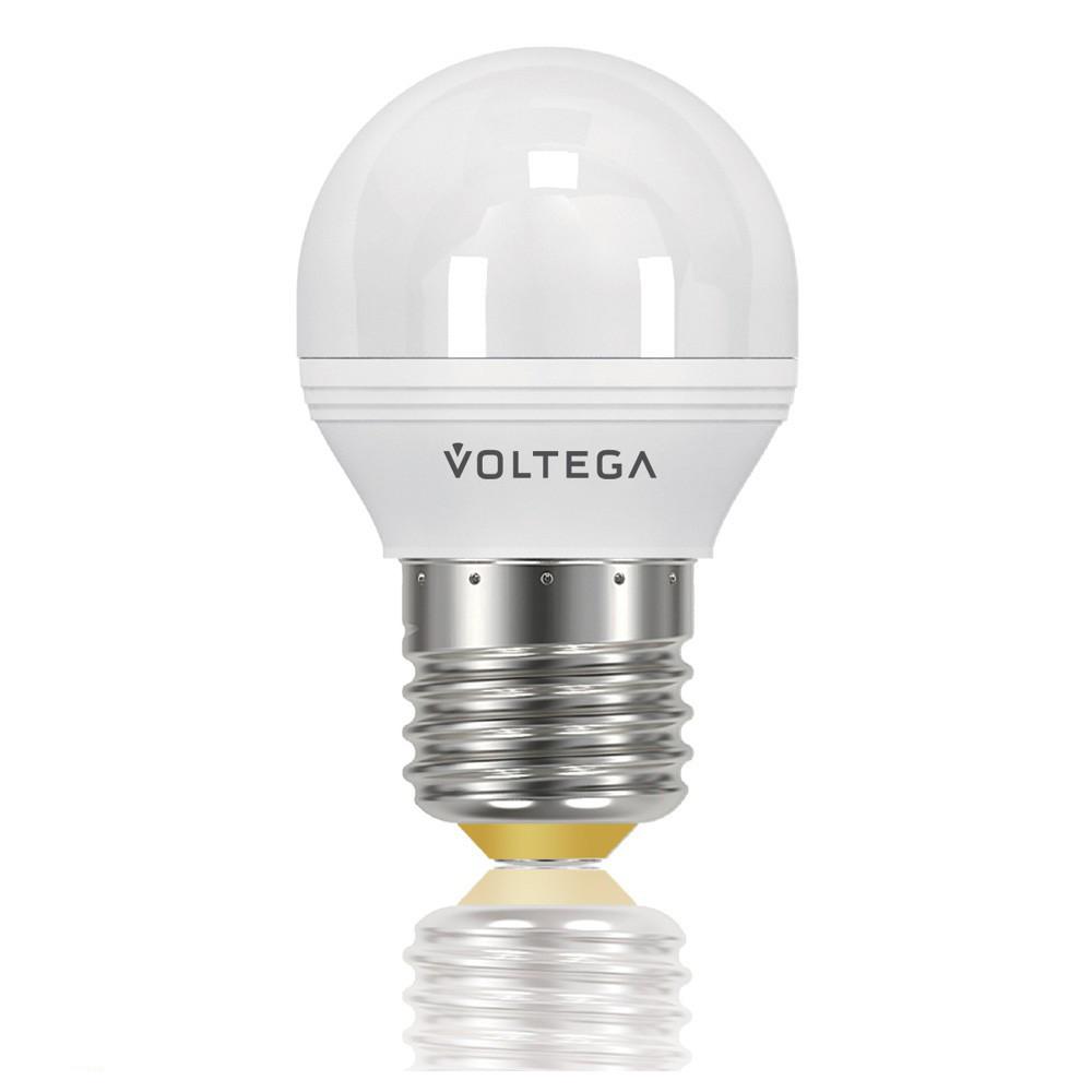 Купить Светодиодная лампа шар Voltega 220V E27 5.7W (соответствует 60 Вт) 470Lm 2800K (теплый белый) 8342