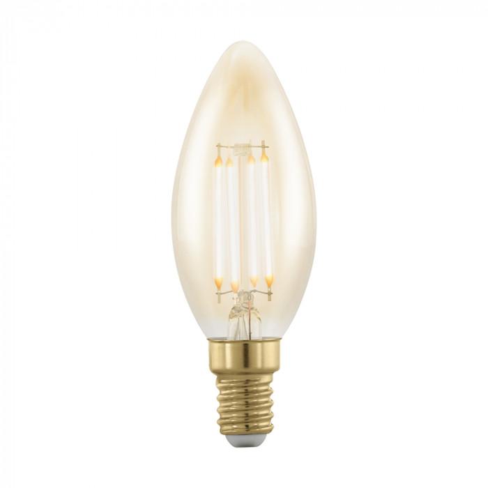 Диммируемая светодиодная лампа филаментная золотая Eglo E14 4W (соответствует 40W) 320Lm 1700K (желтый) 11698