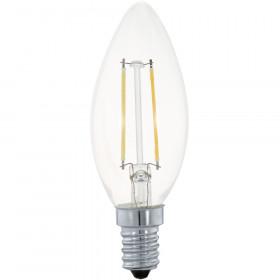 Светодиодная лампа филаментная свеча Eglo 220V E14 2W (соответствует 19 Вт) 200Lm 2700K (теплый белый) 11492
