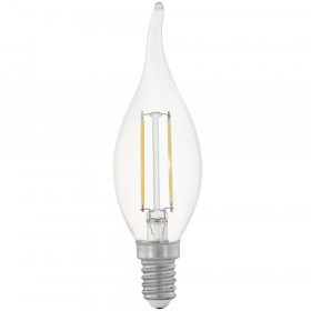 Светодиодная лампа филаментная свеча на ветру Eglo 220V E14 2W (соответствует 19 Вт) 200Lm 2700K (теплый белый) 11493