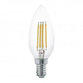 Светодиодная лампа филаментная свеча Eglo 220V E14 4W (соответствует 30 Вт) 350Lm 2700K (теплый белый) 11496