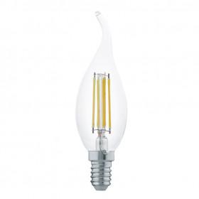 Светодиодная лампа филаментная свеча на ветру Eglo 220V E14 4W (соответствует 40 Вт) 350Lm 2700K (теплый белый) 11497