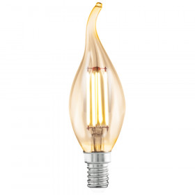 Светодиодная лампа филаментная Eglo 220V CF37 (янтарь) E14 4W (соответствует 22 Вт) 220Lm 2200K (теплый белый) 11559