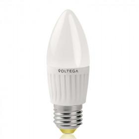 Светодиодная лампа свеча Voltega 220V E27 6.5W (соответствует 60 Вт) 600Lm 2800K (теплый белый) 4690