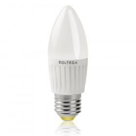 Светодиодная лампа свеча Voltega 220V E27 6.5W (соответствует 60 Вт) 600Lm 2800K (теплый белый) 5717